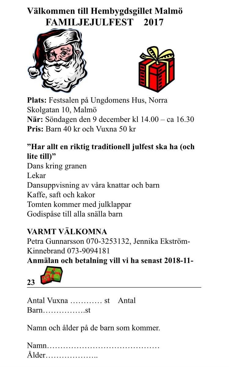 Anmälan till familjejulfest, senast 23e november.